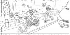 Ausmalbild Fahrrad im Verkehr