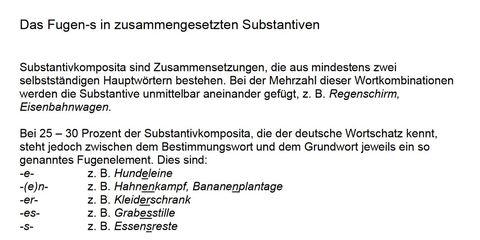 DaF DaZ Lesetext Regeln zum Fugen-s in zusammengesetzten Substantiven