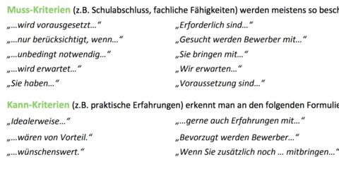 DaF DaZ Arbeitsblatt Übung Muss- und Kann-Kriterien in Stellenanzeigen