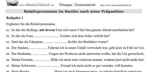 Relativpronomen im Genitiv nach Präposition, Arbeitsblatt