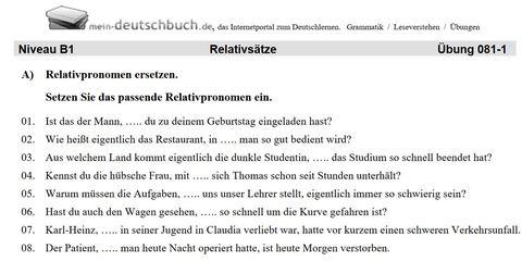 Relativpronomen üben, Arbeitsblatt