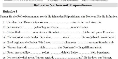 Reflexive Verben mit Präposition, Arbeitsblatt